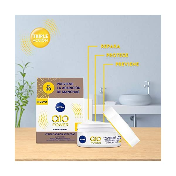 NIVEA Q10 Power Antiarrugas Cuidado de Día Triple Defensa FP30 (1 x 50 ml), crema hidratante antiarrugas, crema facial…