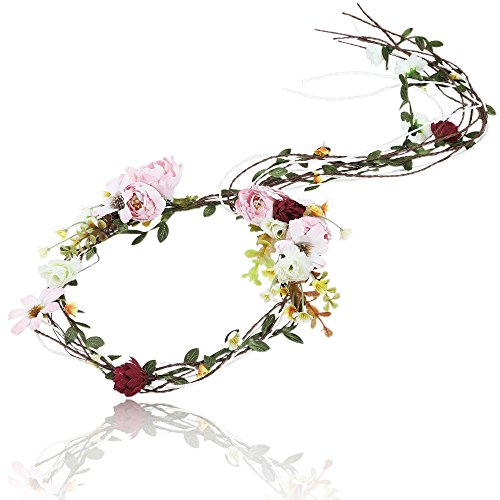 AWAYTR Böhmen Blumen Stirnband Girlande Kopfstück Neue Mode Haar Kranz Simulation Baum Rebe Blume Krone Hochzeit Fotografie Dekoration (Rosa)