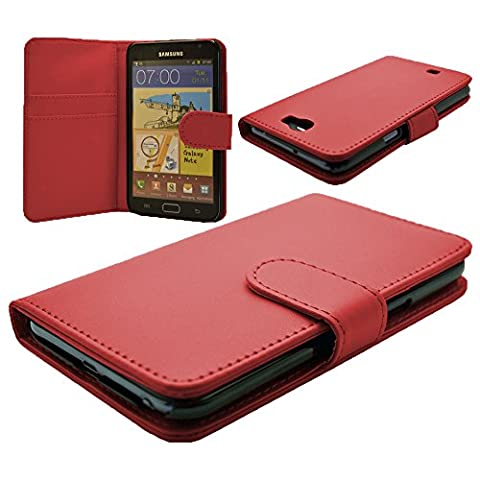 VCOMP® Housse Coque Etui portefeuille cuir PU pour Samsung Galaxy Note 2 N7100/ N7105 - ROUGE