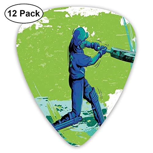 Guitar Picks 12-Pack,Cricket Player Pitching Win Game Champion Team Paintbrush Effect