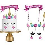 LQZ Einhorn Cake Topper Tortenstecker Tortentopper Kuchendeko für Geburtstag Torte Regebogen Kuchen Aufsatz Sticks