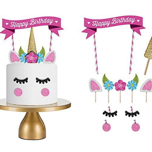 Produktbild LQZ Einhorn Cake Topper Tortenstecker Tortentopper Kuchendeko für Geburtstag Torte Regebogen Kuchen Aufsatz Sticks
