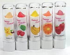 Sabrina Cosmetics Lot de 6 baumes à lèvres 6 saveurs fruitées