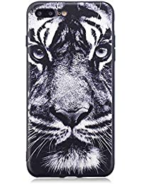 Flymaff - Carcasa para iPhone 7 Plus y iPhone 8 Plus (Incluye Protector de Pantalla de Cristal, Pintura Colorida, Ultrafina, Antideslizante, Suave TPU para iPhone 7 Plus/iPhone 8 Plus)