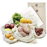 achilles 6er Set, Obst- und Gemüsebeutel, Obst- und Gemüsenetz, 100% Baumwolle,Stoffbeutel, plastikfreie Einkaufsnetze, Einkaufsbeutel, Einkaufstaschen inkl. Hülle (verschiedene Größen 2x XL, 2x L, 1x M + 1 x Brotbeutel) wiederverwendbar, waschbar