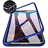 Lofad Case Magnetic Metal Frame Tempered Glass Hard Back Cover with Built-in Magnets Bumper for Xiaomi Redmi Y3 (Blue)