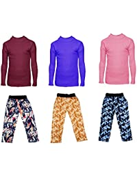 IndiStar Boys Combo Pack For Winter(Pack of 3 Printed Lower and 3 Wollen Full Sleeves T-Shirt/Inner/Skivvy )