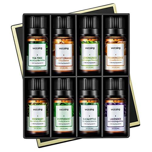 Ätherisches Öle Set, VicTsing Top 8 Aromatherapie Duftöl Essential Oil Duftöle mit 10ml / Flasche für Vielseitige Aroma Verwendung Geschenk zum Muttertag - Tea Tree Minze Lassen