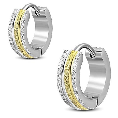 Bungsa® Pair Sandblasted Gold Silver 4MM Hoop Earrings Creole Earrings Stainless Steel Earrings Huggies Men's Unisex Earrings Ear Stud Earrings Women Earrings Fashion)