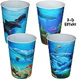 4 Stück _ 3-D Effekt _ 3 in 1 - Trinkbecher / Zahnputzbecher / Malbecher - Becher -  Unterwasser - Fische & Delfine  - 320 ml - mehrweg - Trinkglas aus Kuns..