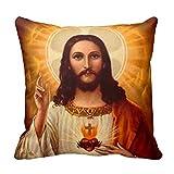 Hermoso religioso sagrado corazón de Jesús imagen funda de almohada Home manta decorativa Funda de almohada de 18x 18