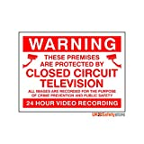 Pack Of 5 Warning These Premises Are Protected By 24 Hour Video Recording CCTV Signs 200mm x 150mm - Rigid Plastic