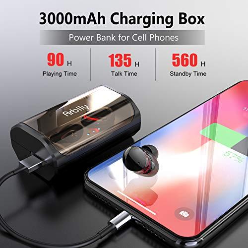 Arbily Bluetooth Kopfhörer Kabellos True Wireless IN Ear Earbuds mit Portable Ladebox 3000 mAh,135 Stunden Spielzeit IPX6 Wasserdicht Bluetooth 5.0 Ohrhörer Sport,Power Bank für Smartphone - 4