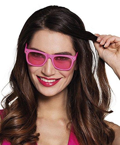 Karnevalsbud - Pinke Nerdbrille Brille Kostüm Sonnenbrille, Neonpink