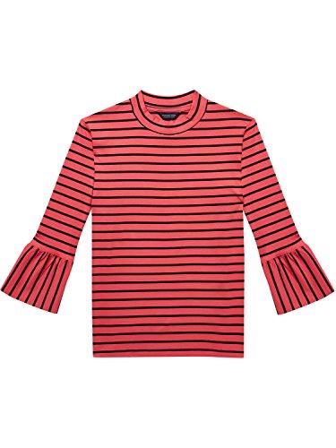 Scotch & Soda Maison Damen T-Shirt Clean Long with Ruffle Sleeve, Mehrfarbig (Combo A 17), X-Small