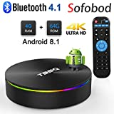 Sofobod T95Q TV Box Android 8.1 4GB RAM 64GB ROM, Quadcore TV Box H.265 Decoding, HD 4K 3D USB3.0 Dual WiFi 2.4G/5G BT4.0 TV Box