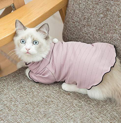 BOHE1ANVV Kleidung Haustiere Kitty Kleidung Herbst Dünnschliff Boden Shirt Britische Kurze Haarlose Kätzchen Sommer Teddy Haustier Garfield Blaue Katze Herbst Kleidung Pink-XL