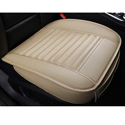 LUOLLOVE Coprisedile Auto Universale Pelle, Protezione per Sedile Auto Anteriori Carbone di bambù Super Traspirante,20.8 * 20.1 '' (1-Pezzo,Beige)