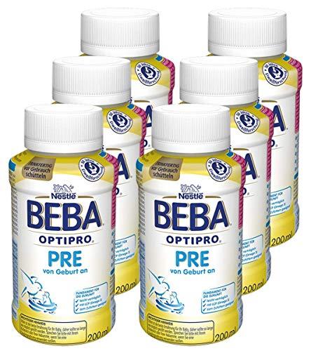 Nestlé BEBA OPTIPRO PRE Säuglingsmilchnahrung, von Geburt an, trinkfertige Babymilch im Fläschchen, leicht verträgliche Babynahrung, 6er Pack (6 x 200ml)