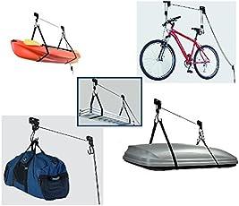 Deckenlift Fahrradlift  Fahrradaufhängung Deckenhalter 45kg Fahrradhalter Seilzug für E-Bike Kajak Bike Gepäck Dachbox etc für Garage Keller Wohnung und Haus stabil und sicher