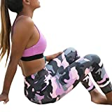 Damen Fitness Hosen,Sonnena Frauen Camouflage Sport Yoga Workout Gym Fitness Exercise Athletic Pants Hohe Taille/Kn�chel L�nge/Elastische Taille/gefaltet/Solid/Satin/Bleistift Hose (M, Sexy Rosa) Bild