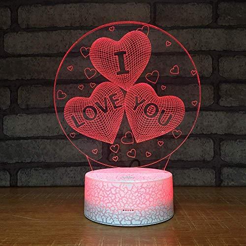 Preisvergleich Produktbild Subtop 3D Liebe Optical Illusion Lampe,  7 Farbänderung Berühren Sie empfindliches LED-Nachtlicht des Schalters mit Acrylflachem,  ABS-Unterseite,  USB-Gebühr für Hauptdekor Perfekte Geschenke für Baby