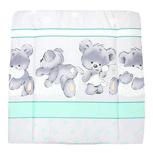 TupTam Baby Wickelauflage Gemustert mit Baumwollbezug, Farbe: Bärchen Grau / Grün, Größe: 70 x 70 cm
