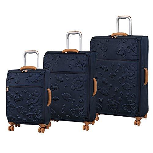 it luggage 3-teiliges Set Aquatic 8 Rollen leichte Semi Expander Koffer Koffer 80 cm, Schwarz - Black Iris (Blau) - 12-2267-08GLO3N-S026 -