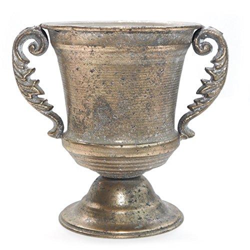 Pokal Amphore ART FERRO Vase Metallvase Gold Messing Antik Metall Blumentopf Übertopf Vintage