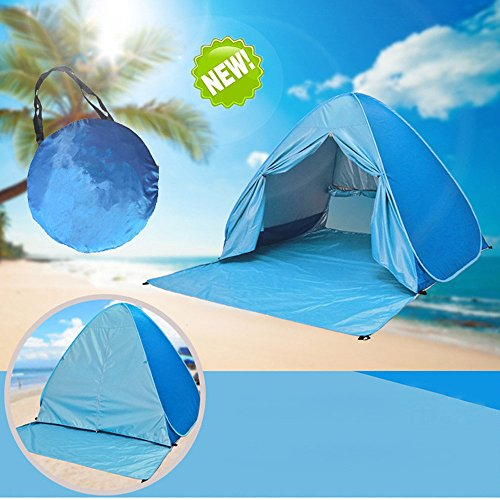 Tenda da spiaggia pop up rifugio per esterni portatile anti-uv per 2 o 3 persone, apertura istantanea pop-up- blue