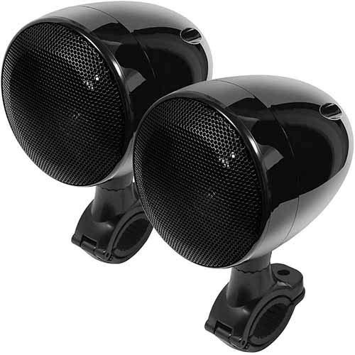 Motorrad Bluetooth Lautsprecher Wetterfest Motorrad ATV Sound System Stereo Lautsprecher Audio Verstärker System 300W Eingebauter Class D Verchromter Verstärker Schwarzer -