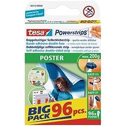 tesa Powerstrips POSTER - Languettes Adhésives pour Posters et Affiches - Forme Triangulaire - Maintien Solide jusqu'à 200 g - Paquet de 96 Pièces