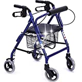 Peixia Faltbarer Allrad-Rollator mit Gepolstertem Sitz, abschließbarer Bremse, ergonomischem Griff und Tragetasche, Aluminiumrahmen