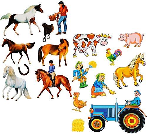 Unbekannt 17 TLG. Set _ Fensterbilder -  Bauernhof - Tiere & Traktor  - Sticker Fenstersticker Aufkleber - statisch haftend / selbstklebend + wiederverwendbar - Fenst..