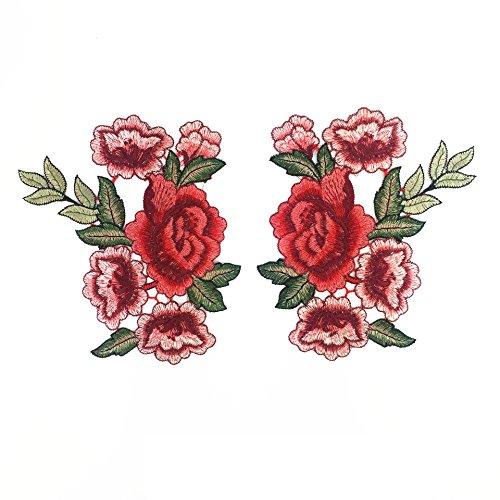 Ari_Mao 1 Paio di Bottoni Vintage Ricamati a Fiori con Applicazioni Ricamate, Jeans Artigianali, Patch Rosa, Applique Rosse