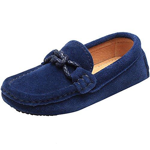 Shenn ragazzi scivolare su comfort tacco piatto pelle scamosciata vestito mocassini scarpe 8221k(blu navy,eu33)