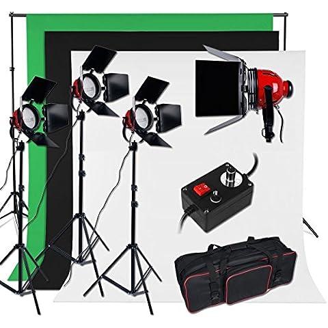 2400W Kit iluminación continua + 3x1.6m kit 3 fondo fotografico, 2x2m sistema de fondo, Tungsteno / halógena bombilla, con 2m trípode y bolsa, kit estudio fotografico para televisión, video y