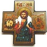 af67e4043f1 Biblegifts Jesus Good Shepherd - Figura Decorativa con Forma de Cruz Dorada  y Plateada metálica para