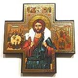 Biblegifts Jesus Guten Hirten Kreuz Form Gold/Silber Metallic Bild zum Aufhängen Icon Stil 15,2x 15,2cm Religiöse Geschenk