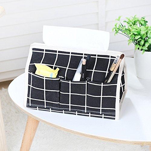 Tisch Serviette Box Multifunktional House Flachs Halter Taschentuchbox, rechteckig schwarz