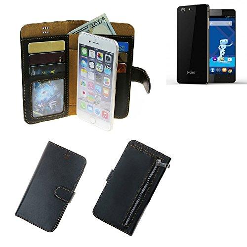 K-S-Trade® Für Haier Phone L53 Portemonnaie Schutz Hülle Schwarz Aus Kunstleder Walletcase Smartphone Tasche Für Haier Phone L53 - Vollwertige Geldbörse Mit Handyschutz