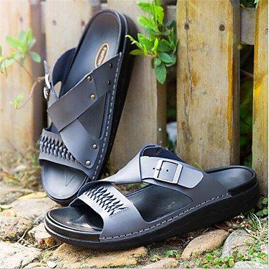 Herren Hausschuhe &Amp; Flip-Flops Sommer Leder Casual flachem Absatz Weiß Schwarz Grau Gray