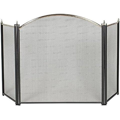 Maurer 22020560 - Pantalla chimenea latón , 61x107cm, color negro