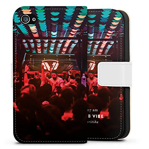 Apple iPhone X Silikon Hülle Case Schutzhülle Party House Techno Sideflip Tasche weiß