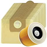 SPARES2GO High Filtration Large Bags + Filter Cartridge for Karcher WD3 WD3P Wet & Dry Vacuum Cleaner