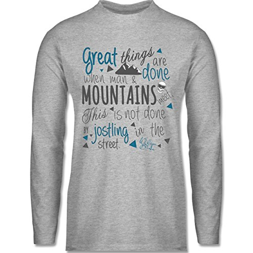 Shirtracer Après Ski - Great Things Happen Mountain - Herren Langarmshirt Grau Meliert
