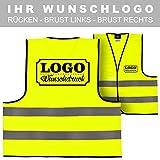 Warnweste Signalweste Sicherheitsweste bedruckt mit Wunschlogo Name Text Motiv SIGNAL GELB Rücken + linke Brust