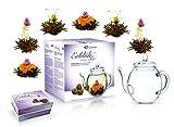 "Mix de flores de té de Creano - set para regalo ""Té Floreciente"" con tetera de cristal / té negro (6 rosas de té en 3 variedades diferentes)"