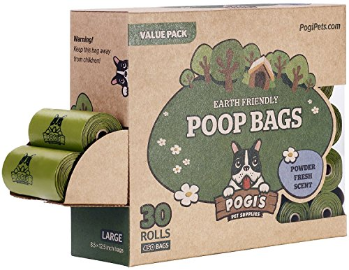 Pogi's Hundekotbeutel – 30 Rollen (450 Tüten) – große, biologisch abbaubare, parfümierte, tropfsichere Hundetüten - 3