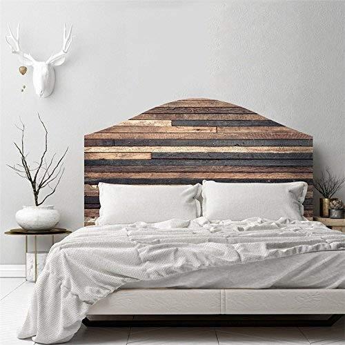 AmazingWall 3D Vintage Holz Effekt Schlafzimmer Wand Aufkleber Kopfteil Decor Selbstklebende Aufkleber Abnehmbarer Wasserdicht Queen Size (Kopfteil Queen-size)
